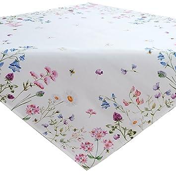 Frühling Tischdecke Tischläufer Mitteldecke weiß m Blumen bedruckt rund Typ520