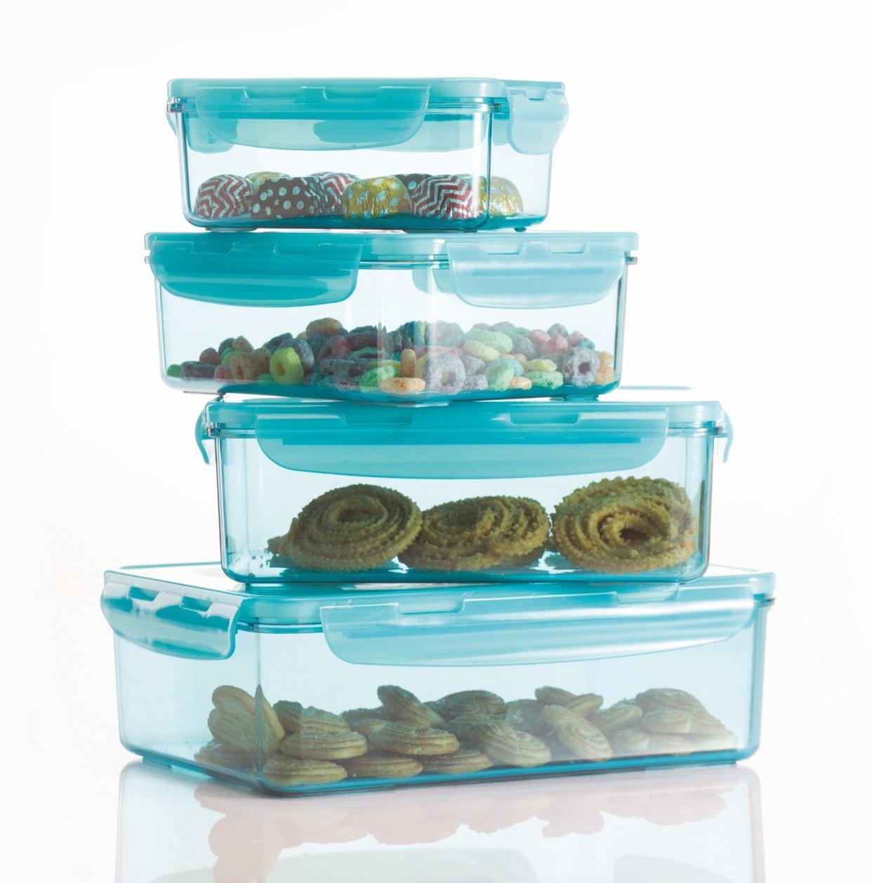 Varmora ClampIT Rectangle 8pc Food Storage Container Set (BPA-free) (Blue)