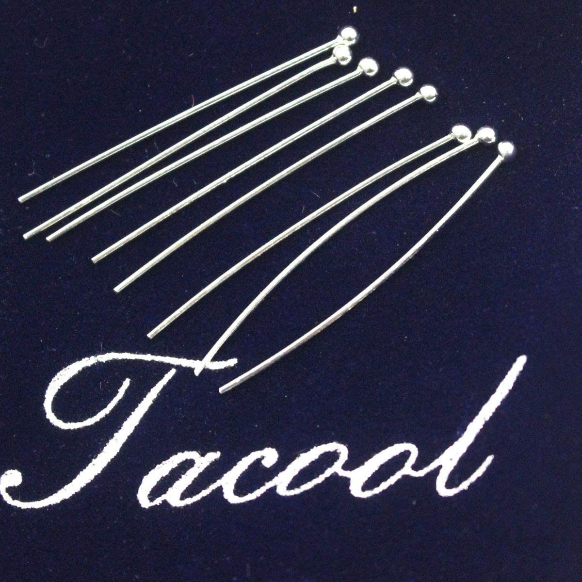 Tacool Real 925 Sterling Silver Head Pins for Gemstone Jewelry Making Beads Silver, 1.5x20mm
