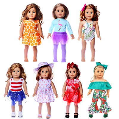 WSJ OURDOLL Clothes for American Girl Doll 7 Sets 18 inch Doll Clothes Gifts and Accessories with Popular Elements Horn Style,Flamingo 18 inch Girls Doll Clothes,Our Generation Doll Accessories: Toys & Games