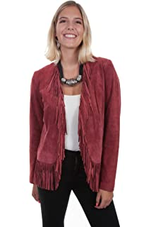New Women/'s Scully Suede Western Hand Laced Jacket Red Black Turquoise Chocolate