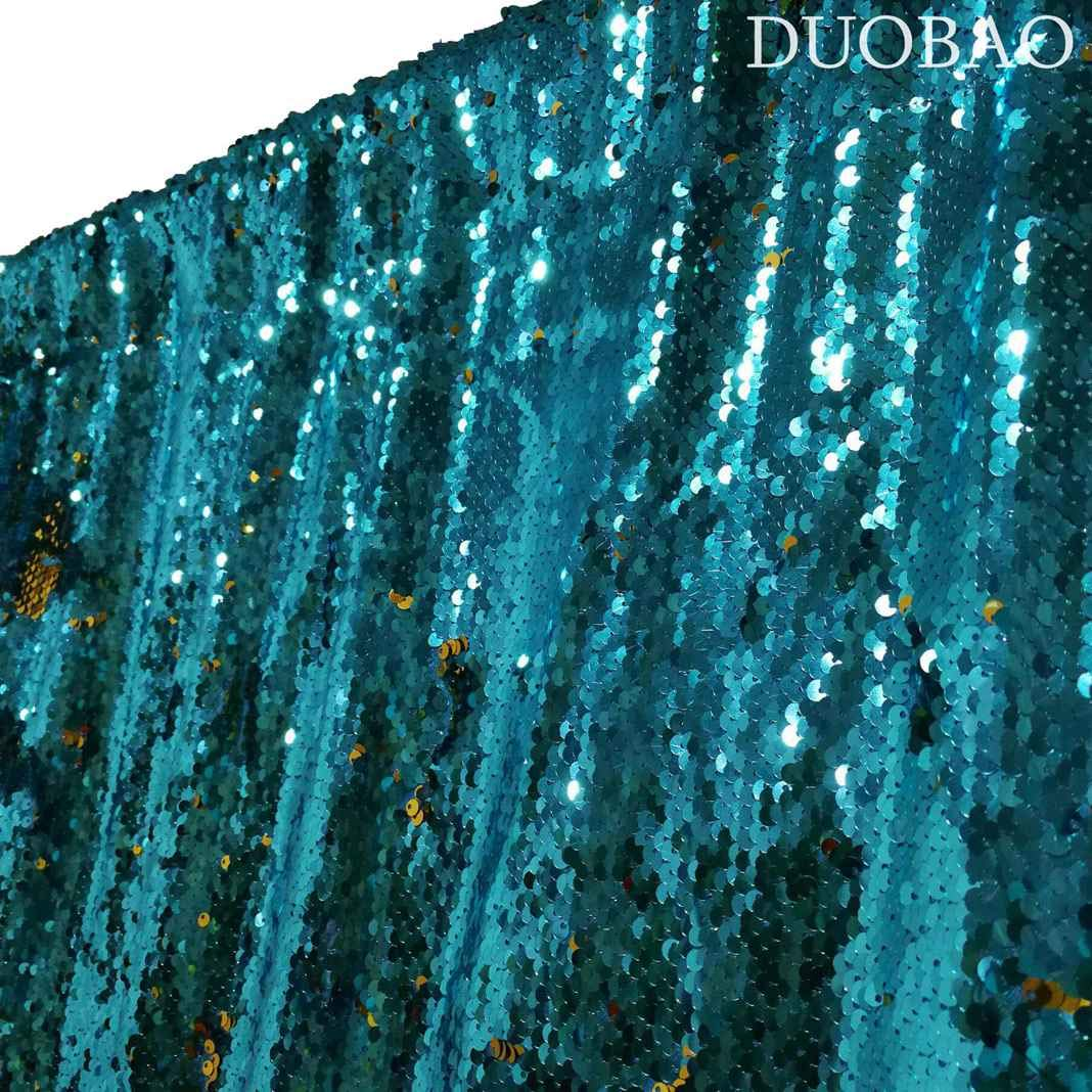 DUOBAO Sequin Backdrop 20FTx10FT Turquoise to Gold Glitter Backdrop Curtain Mermaid Reversible Sequin Curtains Beautiful Background by DUOBAO (Image #5)