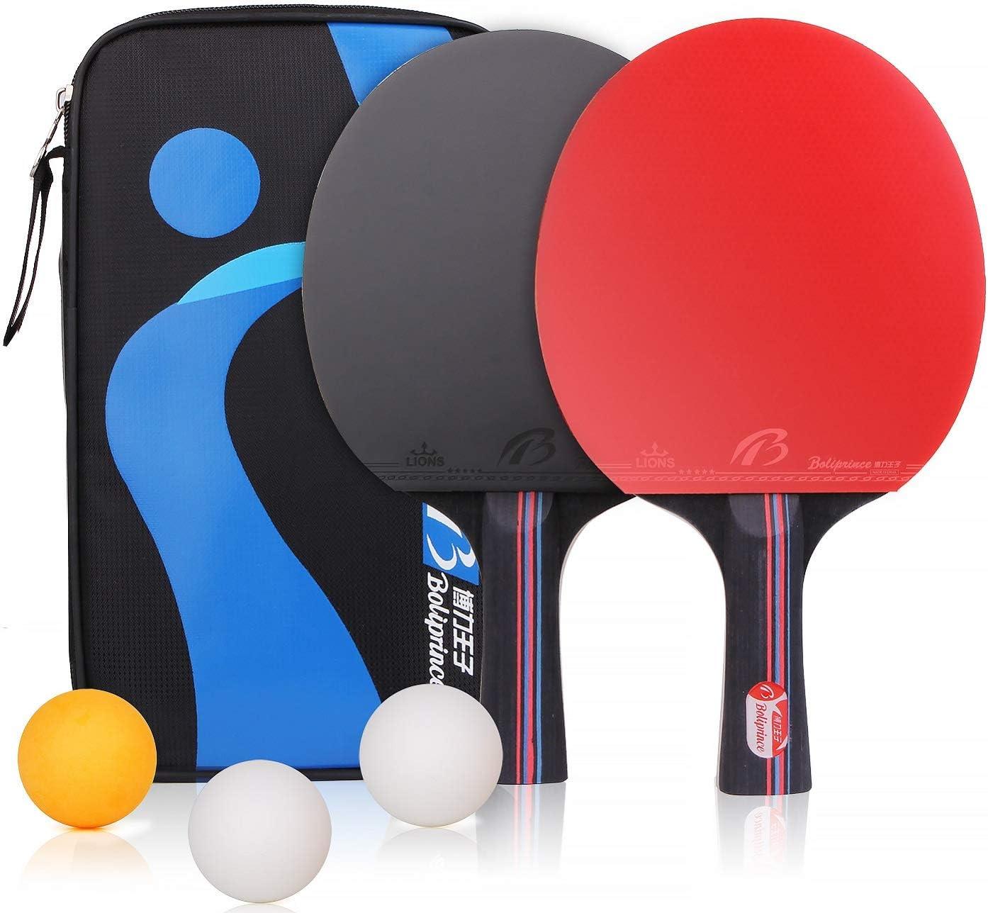 BESTOO - Raqueta de Ping-Pong con Funda para 2 Jugadores, 2 Bates y 3 Pelotas (agarres para Manos de puños)