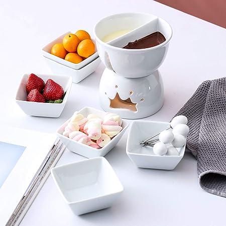 MALACASA, Series favor, Fondues de Chocolate, Blanco Marfil Portavelas de Porcelana Queso Mantequilla Chocolate Fondue Set con 6 Cuencos 6 Tenedores