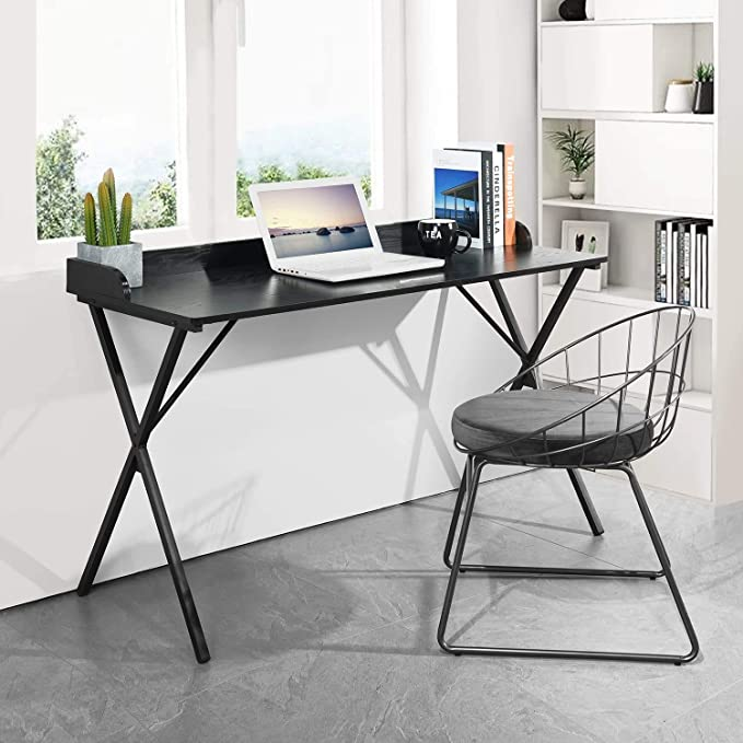 Aingoo Black Writing Computer Desk 47'' Home Office Simple Modern Study PC Laptop Notebook Study Desk with Baffle Design for Workstation   Amazon