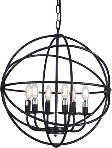 Wideskall 6-Bulbs Industrial Globe Chandelier Lighting Fixture