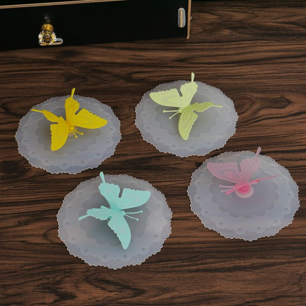NUOMI 4 Set Silicone Cup Lids, Butterfly Mug Cover, Drink Suction Lids for Coffee Mug and Tea Cup, Bright Colors