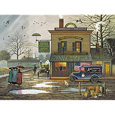 Charles Wysocki - Dampy Donuts on a Dreary Day - 1000 Piece Jigsaw Puzzle for Adults: Toys & Games