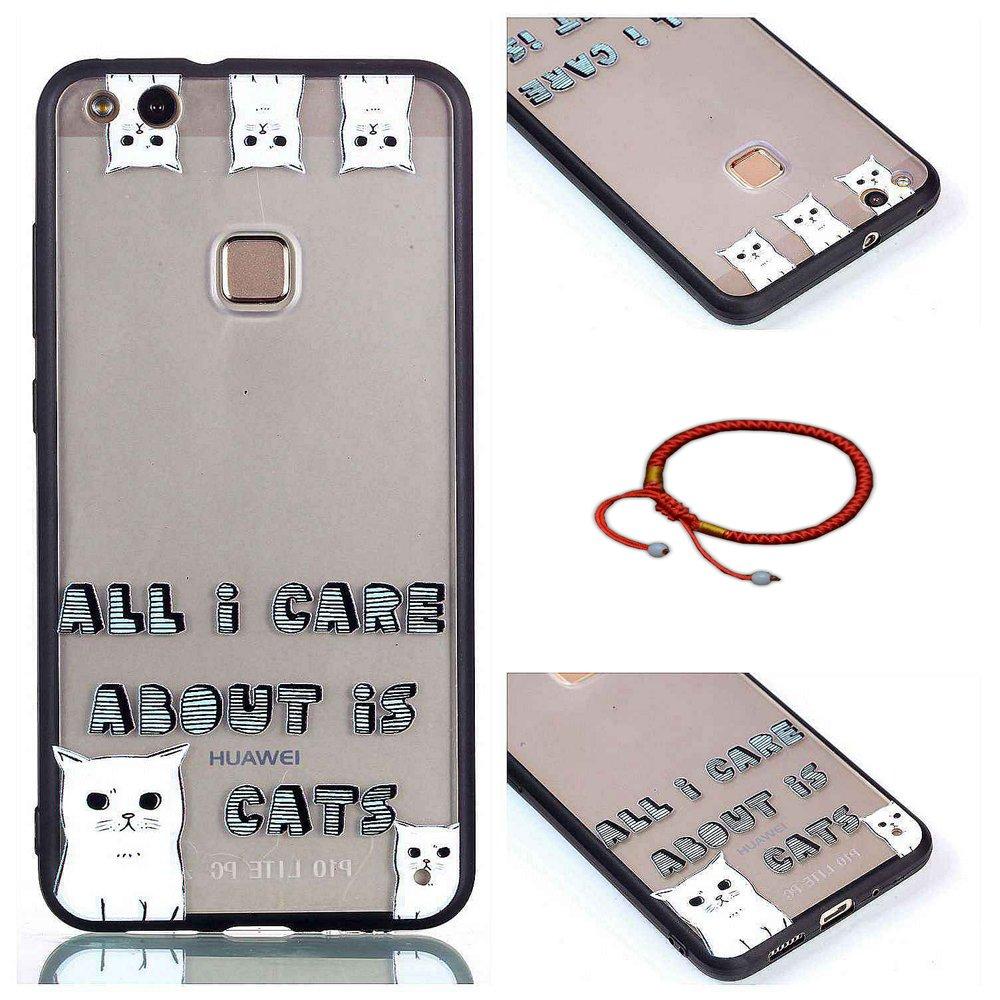 TPU Silicona Transparent Huawei P9 Lite Carcasa Ultra Delgado con Protector Case Caso Back Cover Borde Negro Dise/ño Love Unicorn GOCDLJ Funda para Huawei P10 Lite