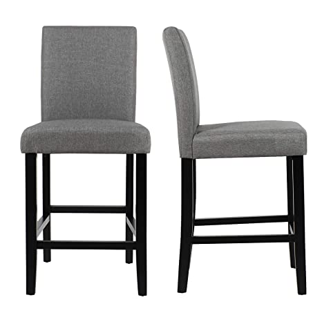 Astonishing Gotminsi Classic 24 Counter Height Stools Upholstered Bar Stools With Solid Wood Legs And Grey Fabric Set Of 2 Grey Ibusinesslaw Wood Chair Design Ideas Ibusinesslaworg