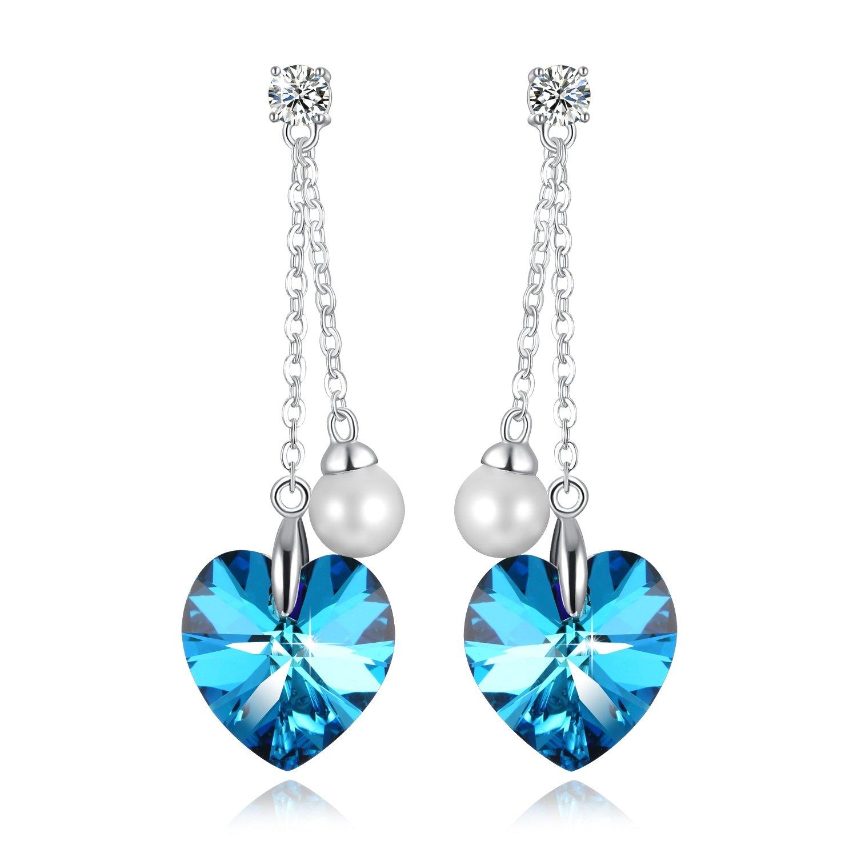 ❤Gift Packing❤ Crystal from Swarovski, Heart Earrings Tassels Pearls Eardrop Dangle Style Earrings, Birthday Birthstone Gifts for Women, Graduation Gifts