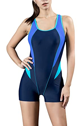8a5e767a552cf Dolamen Women s One Piece Boyleg Sports Swimming Costumes Swimwear