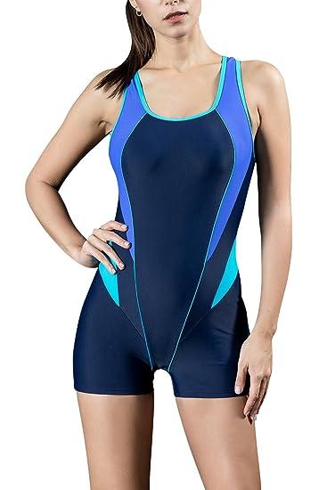 Dolamen Mujer Trajes de baño, Bañador Deportivo Traje de Baño de Una Pieza Bañador de natación Bikini para Mujer, Impresión de la Rayas de la Taza ...
