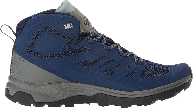 SALOMON Herren Shoes Outline Mid GTX Medieval B/Castor Bergschuhe Mehrfarbig Mittelalterliches Blau Castor Grey Green Mil