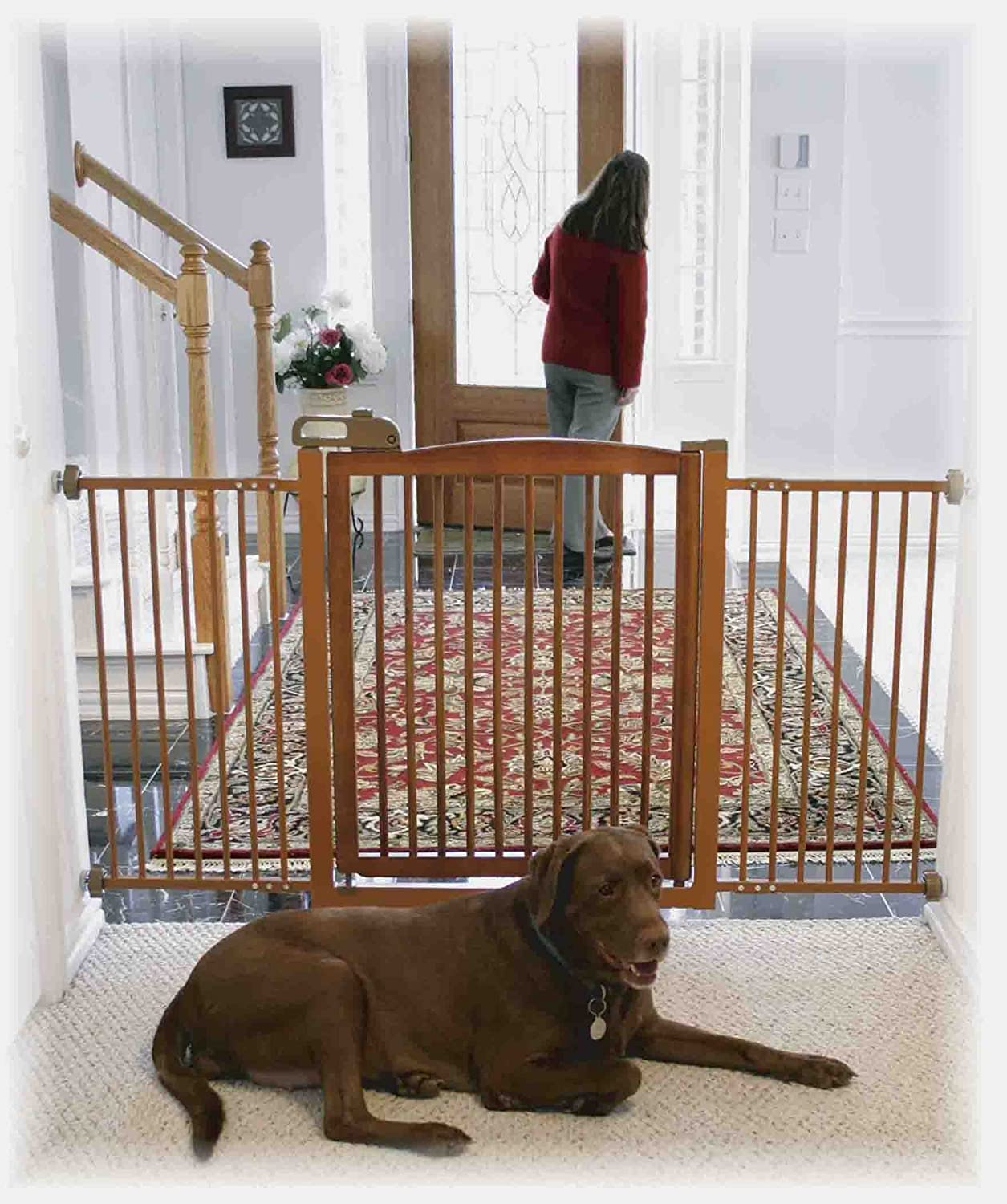 amazoncom richell onetouch 150 pet gate with autumn matte finish indoor safety gates pet supplies - Doggie Gates
