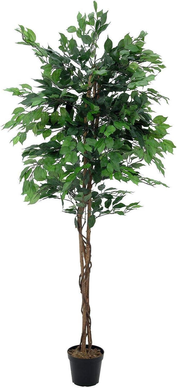 artplants.de Ficus benjamina Artificial con 1115 Hojas, Verde, 150cm - Planta sintética - Árbol de ficus