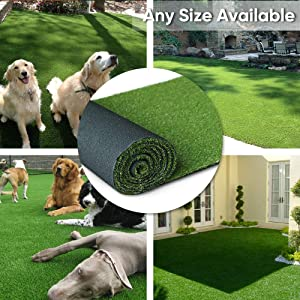 "· Petgrow · Artificial Synthetic Grass Turf 5FTX8FT(40 Square FT),0.8"" Pile Height Indoor Outdoor Pet Dog Artificial Grass Mat Rug Carpet for Garden Backyard Balcony"
