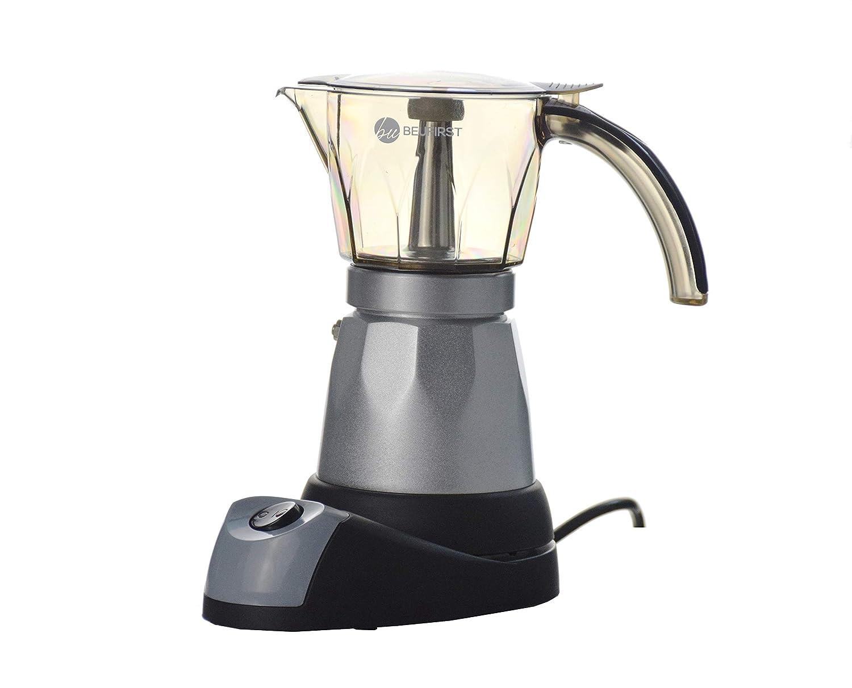 Cafetera Eléctrica Italiana, 480W potencia, Capacidad para 4/6 tazas/espressos. Cafetera Eléctrica con Vaso Transparente Acrílico Muy Resistente, ...