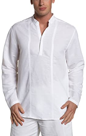 5f5e452c1a4d Cubavera Men's Long Sleeve Popover Shirt, Bright White, Small at ...