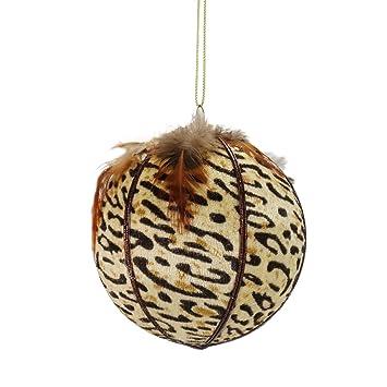 "Diva Safari Cheetah Print with Feathers Ball Christmas Ornament 4"" ... - Amazon.com: Diva Safari Cheetah Print With Feathers Ball Christmas"