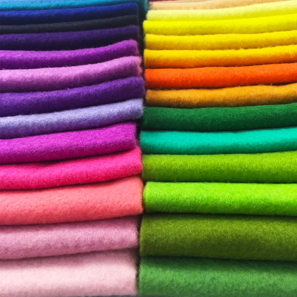 flic-flac 42pcs1.4mm Thick Soft Felt Fabric Sheet Assorted Color Felt Pack DIY Craft Sewing Squares Nonwoven Patchwork (30cm 30cm) by flic-flac (Image #9)