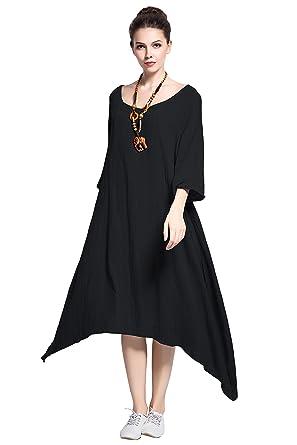f2d5eefa649 Anysize Spring Summer Dress Linen Cotton Irregular Plus Size Dress Y104  Black