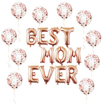 Sharlity 16quot Best MOM Ever Balloons With 10 Pack 12quot Rose Gold Confetti