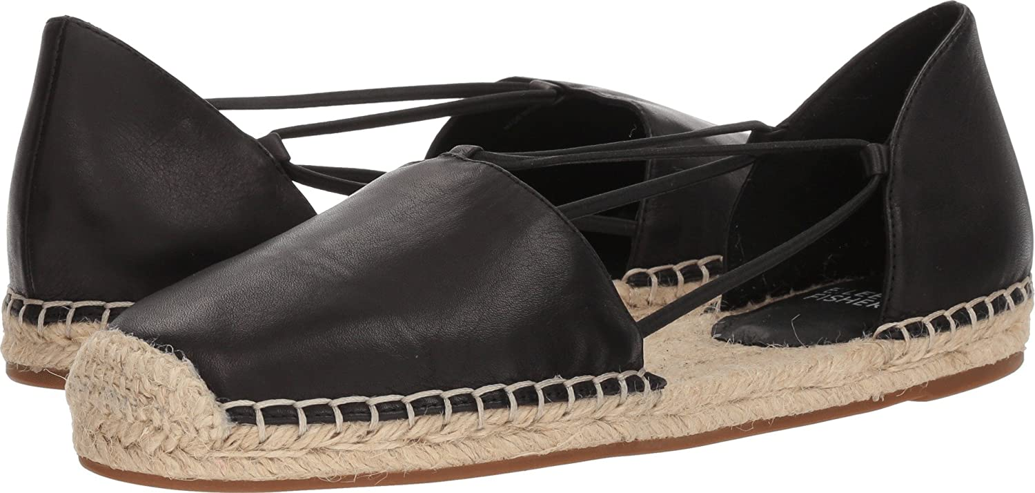 Eileen Fisher Women's Lee-Ms Flat B074QSNL66 8 B(M) US|Black Washed Leather