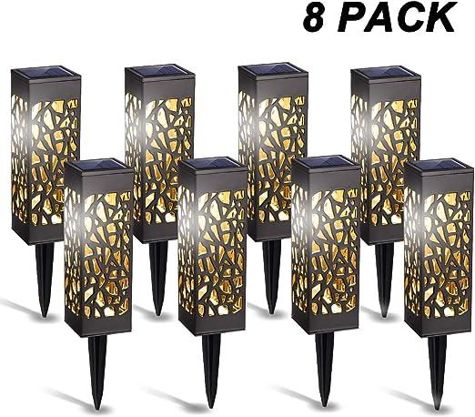 Luces solares GIGALUMI para exteriores, paquete de 8 luces LED de jardín alimentadas por energía solar para patio, patio y jardín: Amazon.es: Iluminación