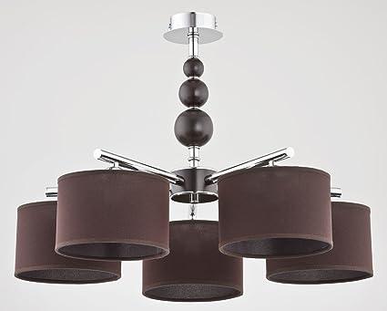 Pendelleuchte 5 Flammig E14 Zylinderförmig Braun Dunkles Holz Natur Chrom  Esszimmer Wohnzimmer Hängeleuchte