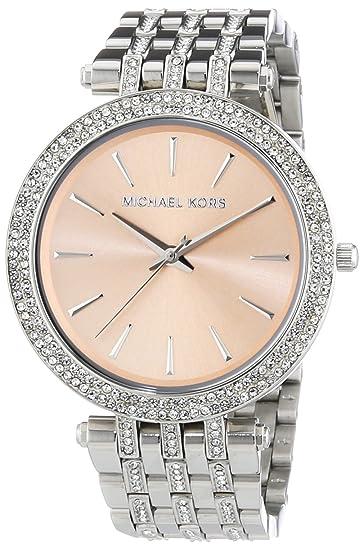 Michael Kors MK3218 - Reloj de cuarzo para mujer, con correa de acero inoxidable, color plateado: Amazon.es: Relojes