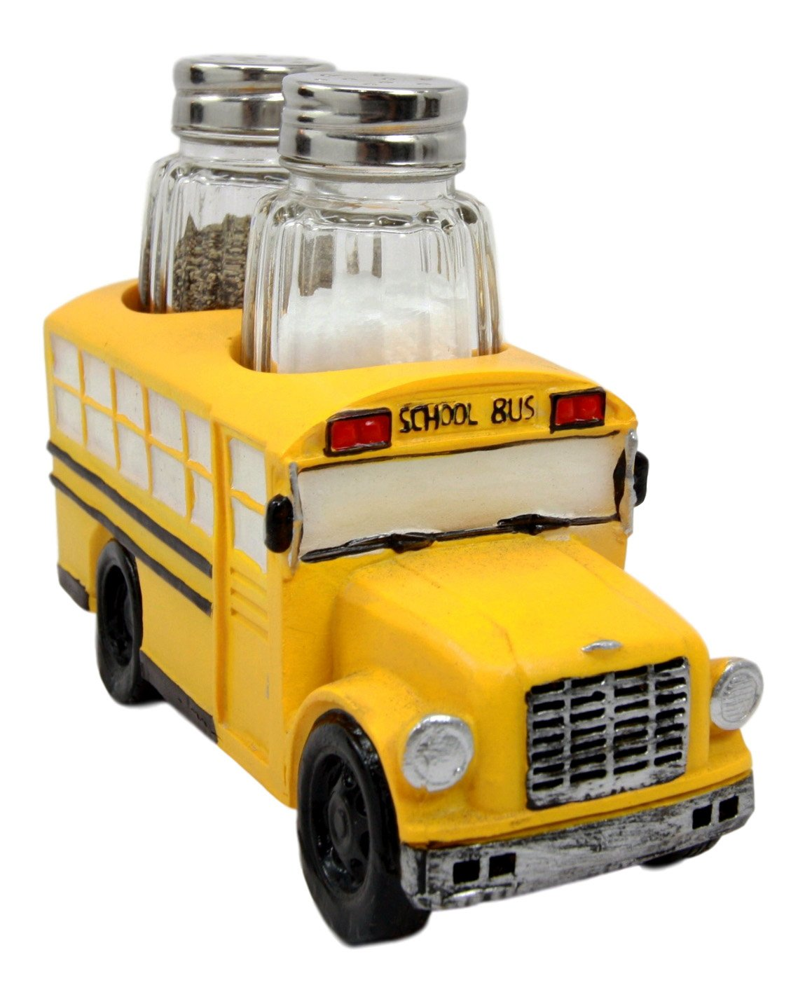 Atlantic Collectibles North American Yellow School Bus Decorative Glass Salt Pepper Shakers Holder Resin Figurine 6''L