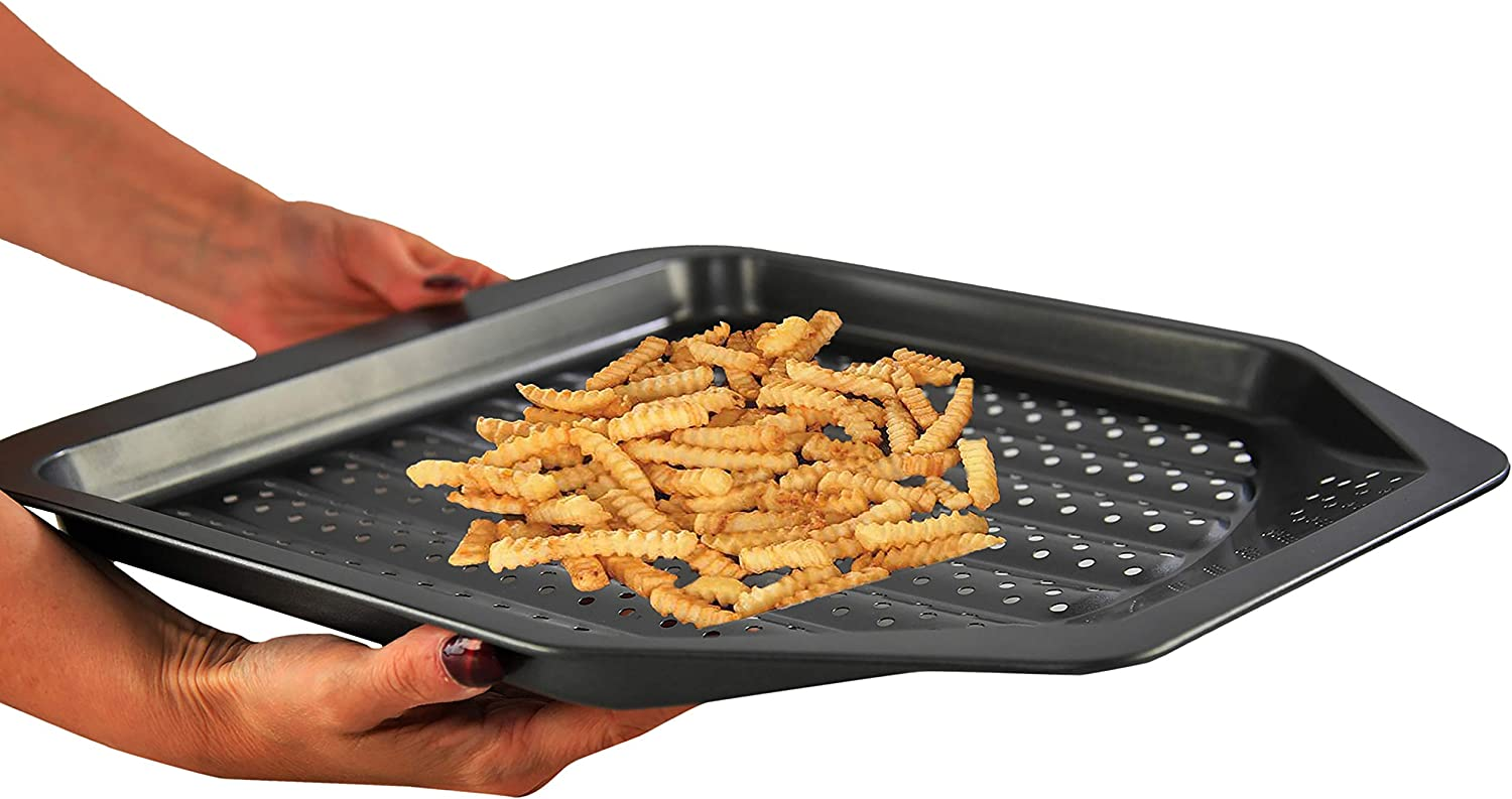 HOME-X French Fries Crisper Baking Sheet for Oven, Kitchen Pan Bakeware Gadget