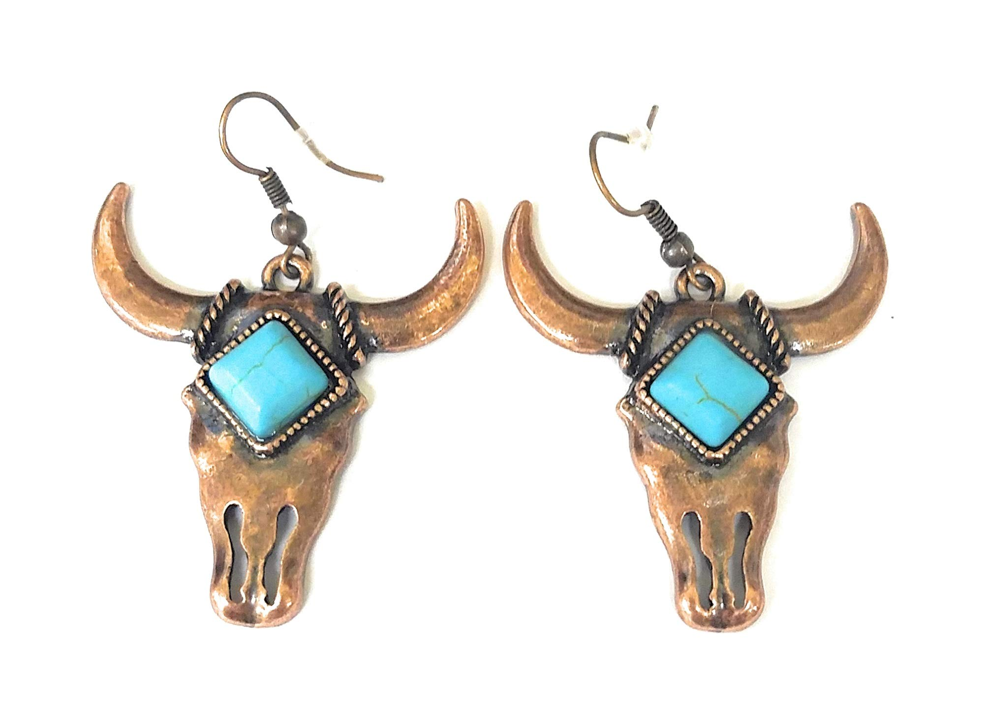 Jp Longhorn Steer Cow Western Cowgirl Drop Dangle Fish Hook Earrings (Copper Bronze Gold Turquoise Blue Concho)