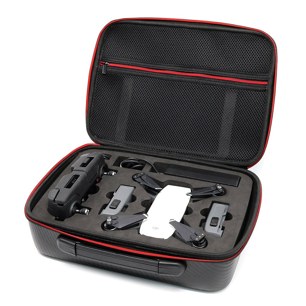 Beyondsky Spark Drone Carbon Fiber PU Carrying Case Bag Hangpack Box Battery Storage Suitcase For DJI Spark Drone(Carbon Fiber PU Case) (PU case)