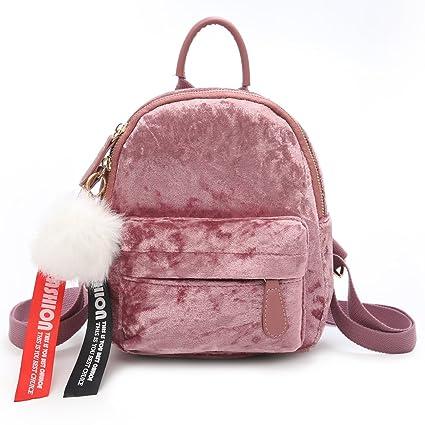 c5404dc58ed0 JAGENIE Women Vintage Cute Small Mini Velvet Backpack Travel Bag Pink   Amazon.co.uk  Kitchen   Home