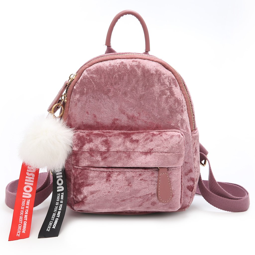 Thobu Women Vintage Cute Small Mini Velvet Backpack Travel Bag Pink