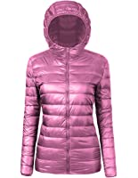 EQUICK Women Down Coat Ultra Light Duck Feather Hooded Jacket Packable In Pocket Stand Collar Puffer