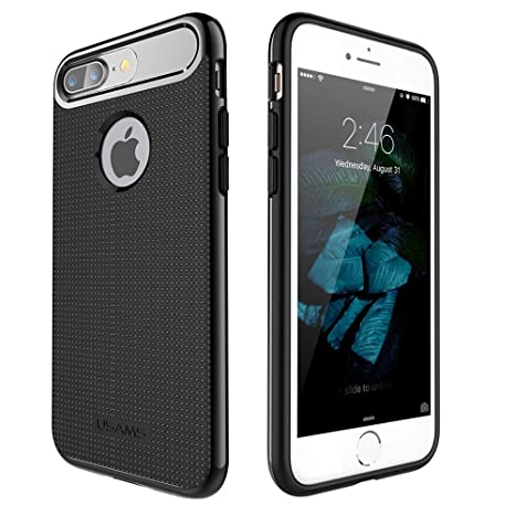 USAMS Yogo TPU + PC Hybrid Protective Back Case Cover for Apple iPhone 7 Plus [5.5 quot;]   Black Cases   Covers