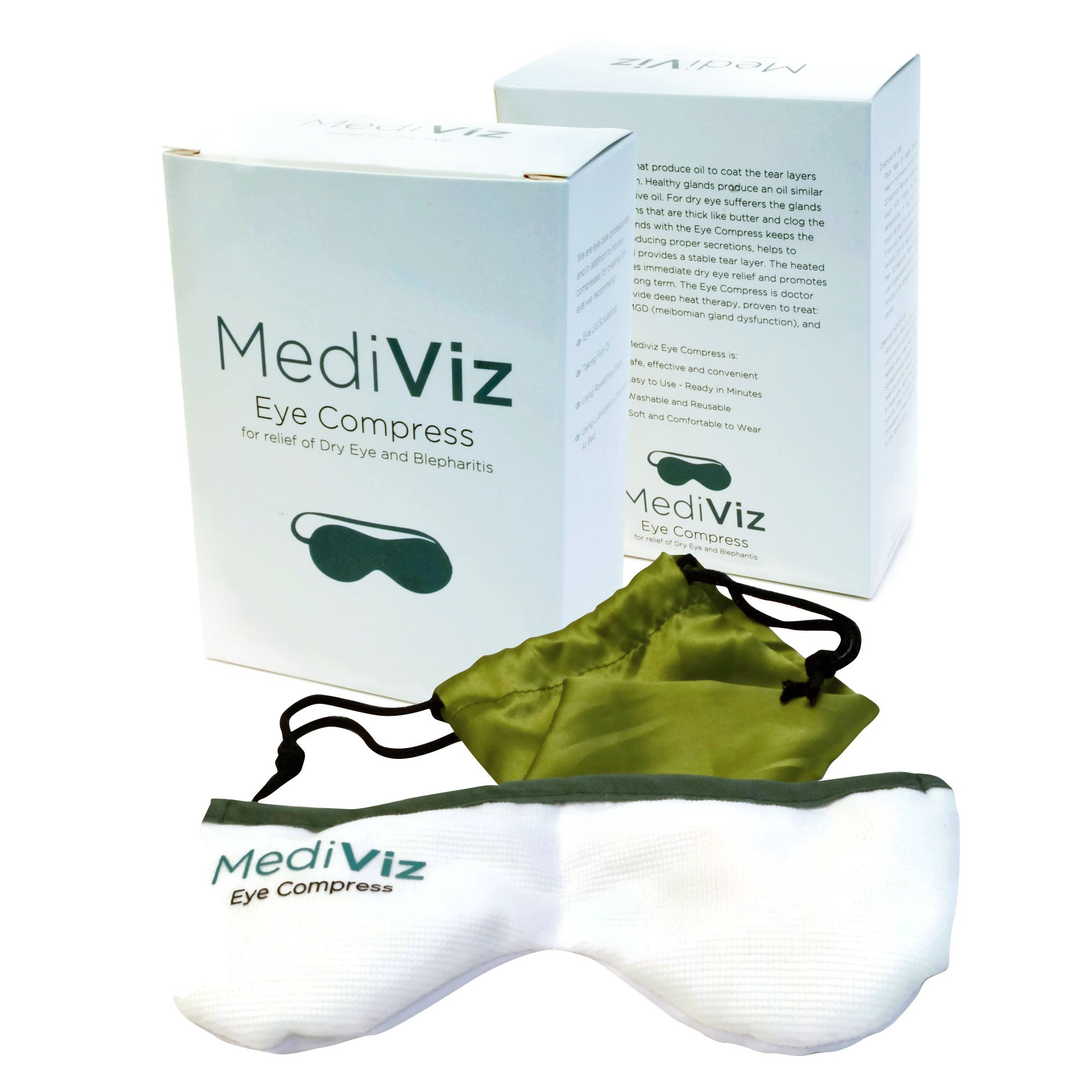Mediviz Blepharitis Dry Eye Mask | Relieving Dry Eye Moist Heat Compress for Dry Eye, Styes, Meibomian Gland Dysfunction, Headaches, Sinuses, and Allergies