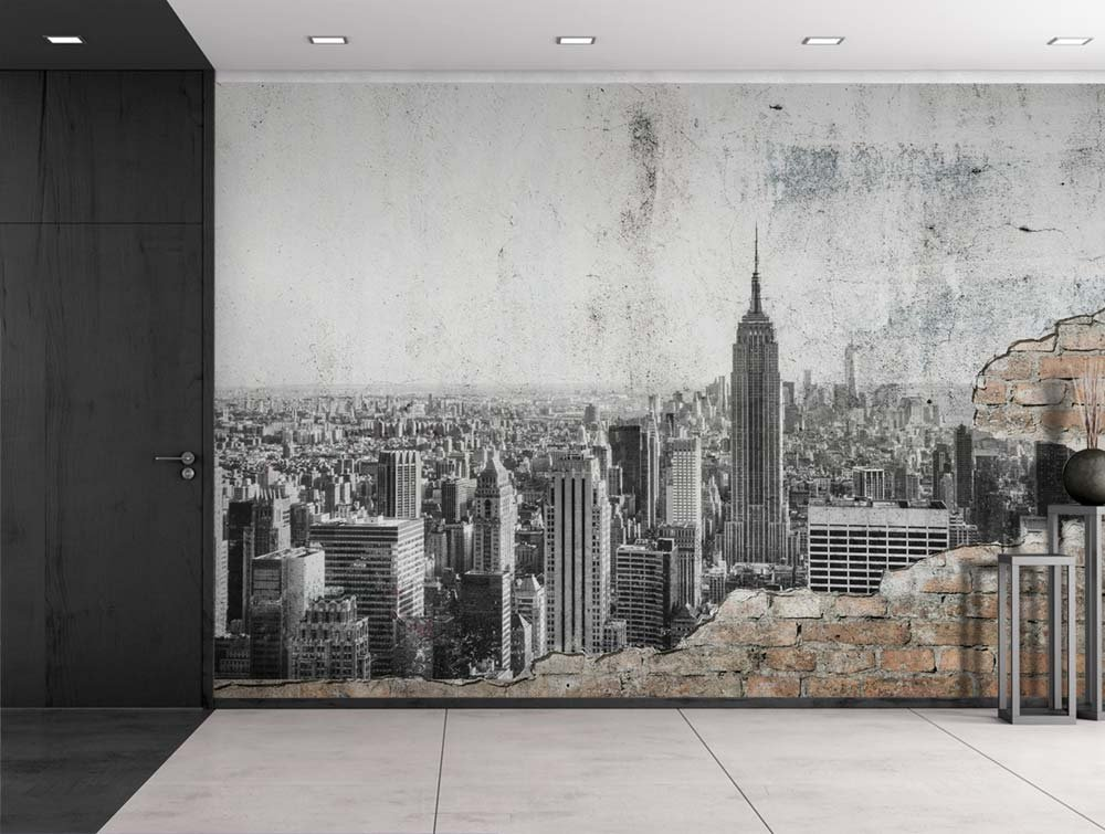 Grayscale Photo of New York City on a Brick Wall Wall Mural Wall