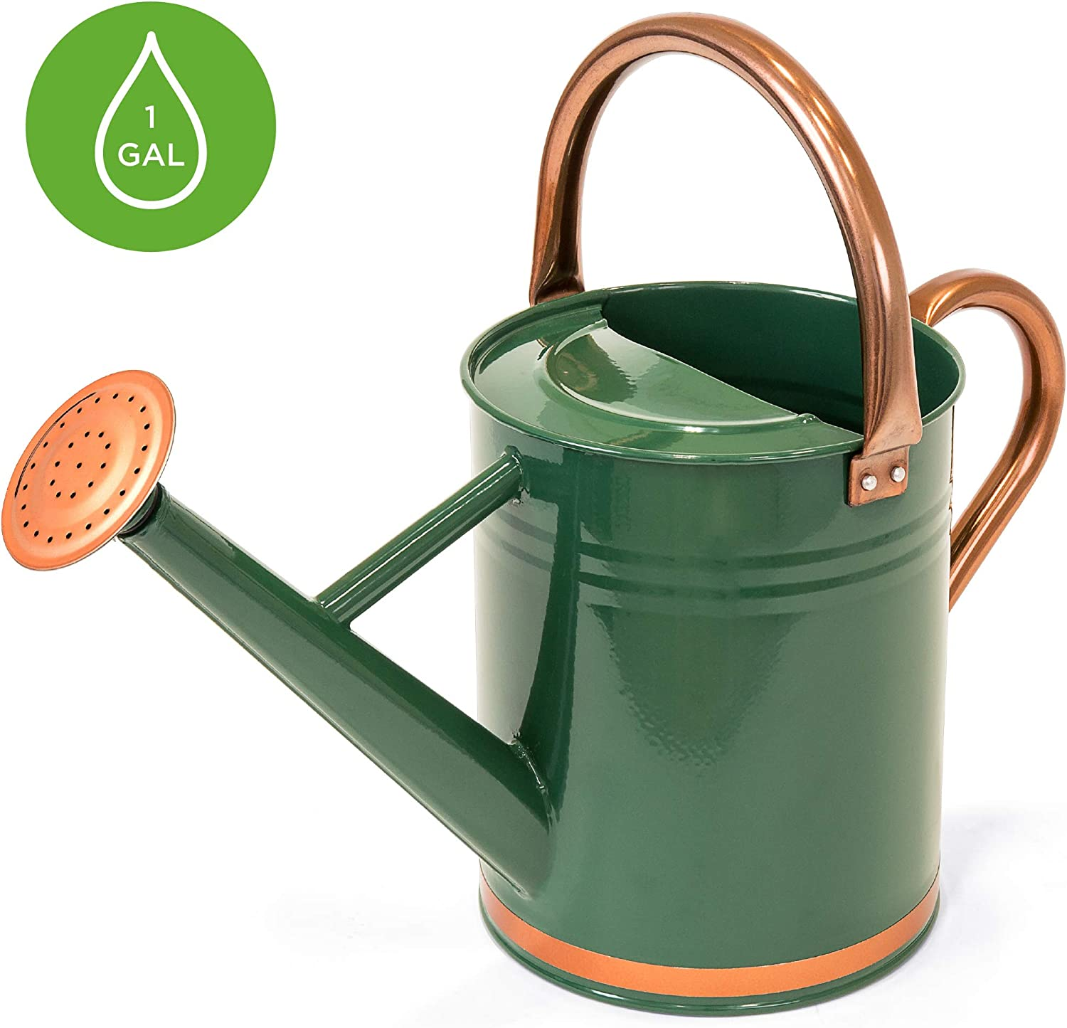 Best Choice Products 1-Gallon Galvanized Steel Watering Can for Gardening w/O-Ring, Top Handle, Copper Accents
