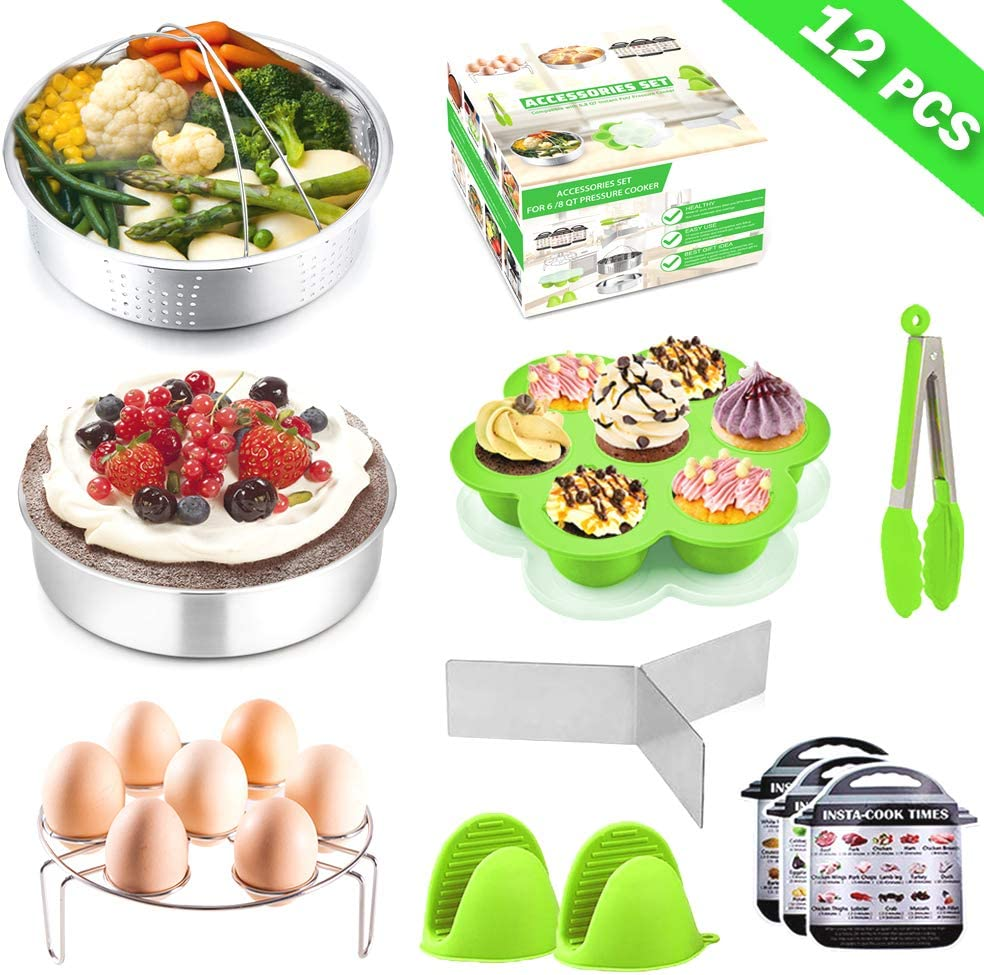 Instant Pot Accessories, P&P CHEF 12 Pcs Green Pressure Cooker Accessory Set For 6/8 Qt - Steamer Basket, Cake Pan, Egg Rack, Egg Bites Mold with Lid, Kitchen Tong, Oven Mitts, Magnetic Cheat Sheets