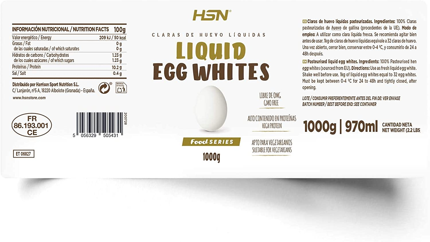 Claras de Huevo Líquida de HSN | 100% Proteína, 0% Grasa | Sin Refrigerar, Sin Aditivos | 1 Bote equivale a 32 claras pasteurizadas | Recetas de ...