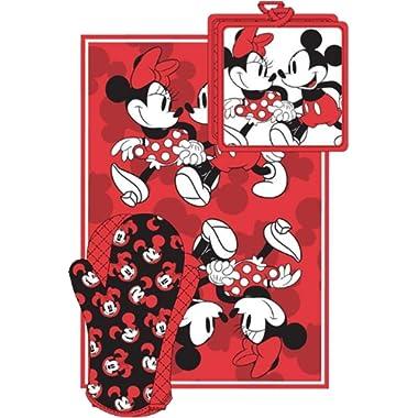 Disney Mickey Minnie Stroll Red Kitchen Towel Set [3-Piece Set]