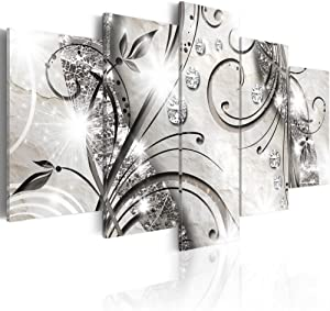 Konda Art - 5 pcs Large Flower Artwork Black and White Floral Canvas Wall Art Print Painting Modern Abstract Decorative Diamond twig Hangings for Living Room Stretched and ready to hang (60