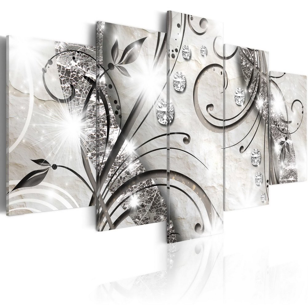 """Konda Art - 5 pcs Flower Canvas Wall Art Black and White Floral Print Painting Modern Decorative Diamond twig Artwork for Living Room Stretched and Ready to Hang (40""""x20"""")"""