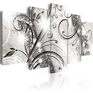 "Konda Art - 5 pcs Flower Canvas Wall Art Black and White Floral Print Painting Modern Decorative Diamond twig Artwork for Living Room Stretched and Ready to Hang (40""x20"")"