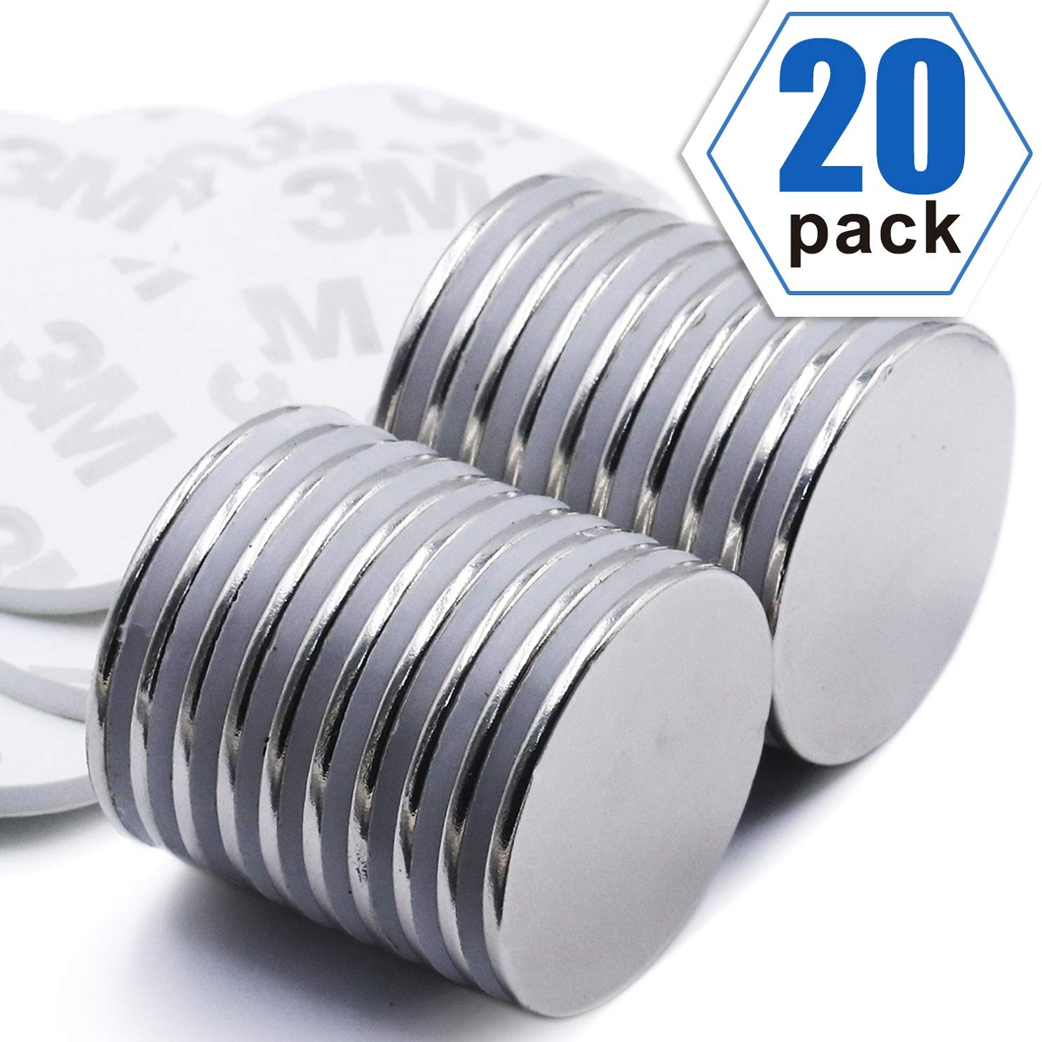 LOVIMAG Strong Neodymium Disc Magnets with Double-Sided Adhesive, Powerful Rare Earth Magnets, Perfect for Fridge, DIY, Building, Scientific, Craft, and Office Magnets, 1.26 inch x 0.08 inch - Pack of
