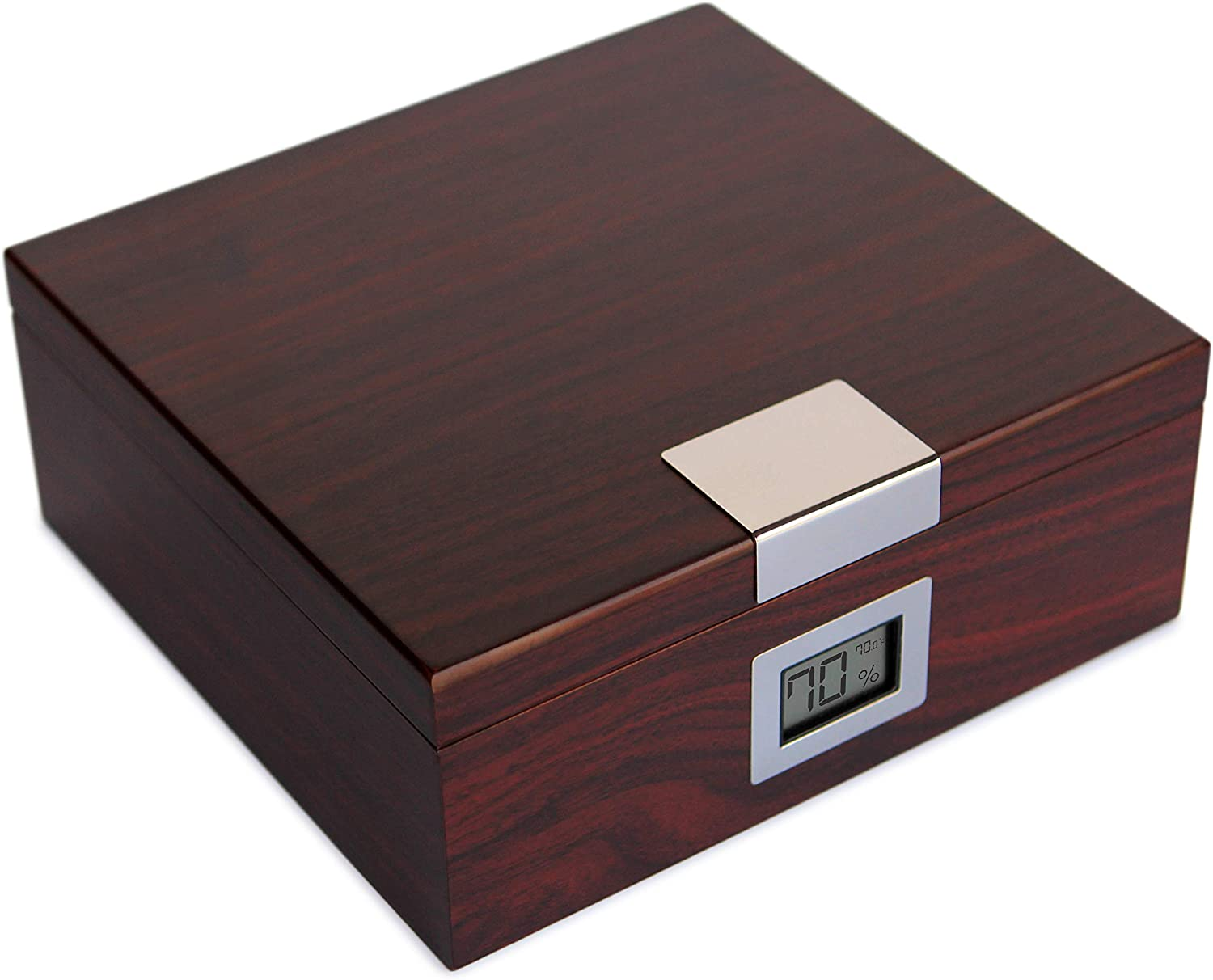 Handcrafted Cherry Finish Cedar Humidor with Front Digital Hygrometer and Humidifier Gel - Holds (25-50 Cigars) by Case Elegance